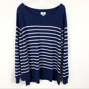 Old Navy Blue & White Split Seam Crewneck Sweater
